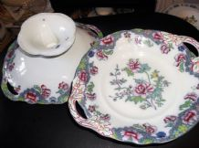2 X RARE ANTIQUE HANDPAINTED COPELAND LATE SPODE 8036 CROWN IMP FOOTED COMPORTS